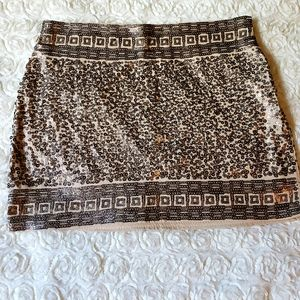 Express Gold/Cream Sequin Mini Skirt
